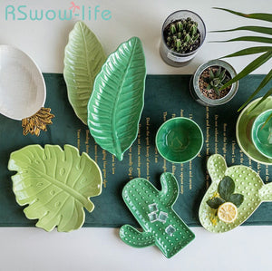 Tropical Plant Creative Ceramic Dish