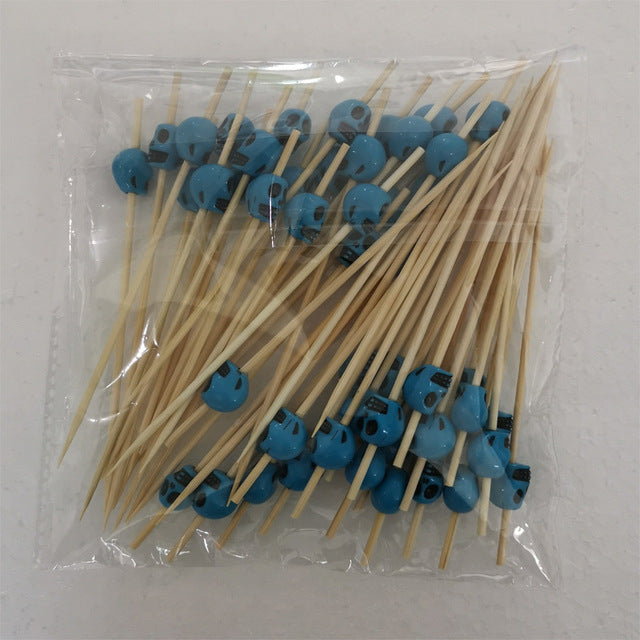 50pcs Cocktail Picks Skull Bamboo