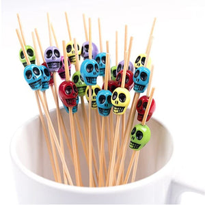 50pcs 12cm Cocktail Picks Skull Bamboo