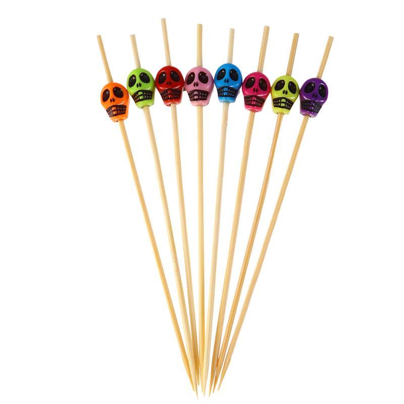 200pcs Bamboo Fruit Picks Wood Skull