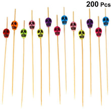 Load image into Gallery viewer, 200pcs Bamboo Fruit Picks Wood Skull