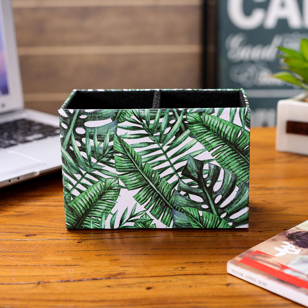 Tropical Palm Leaf Holder Organizer Storage Box Case