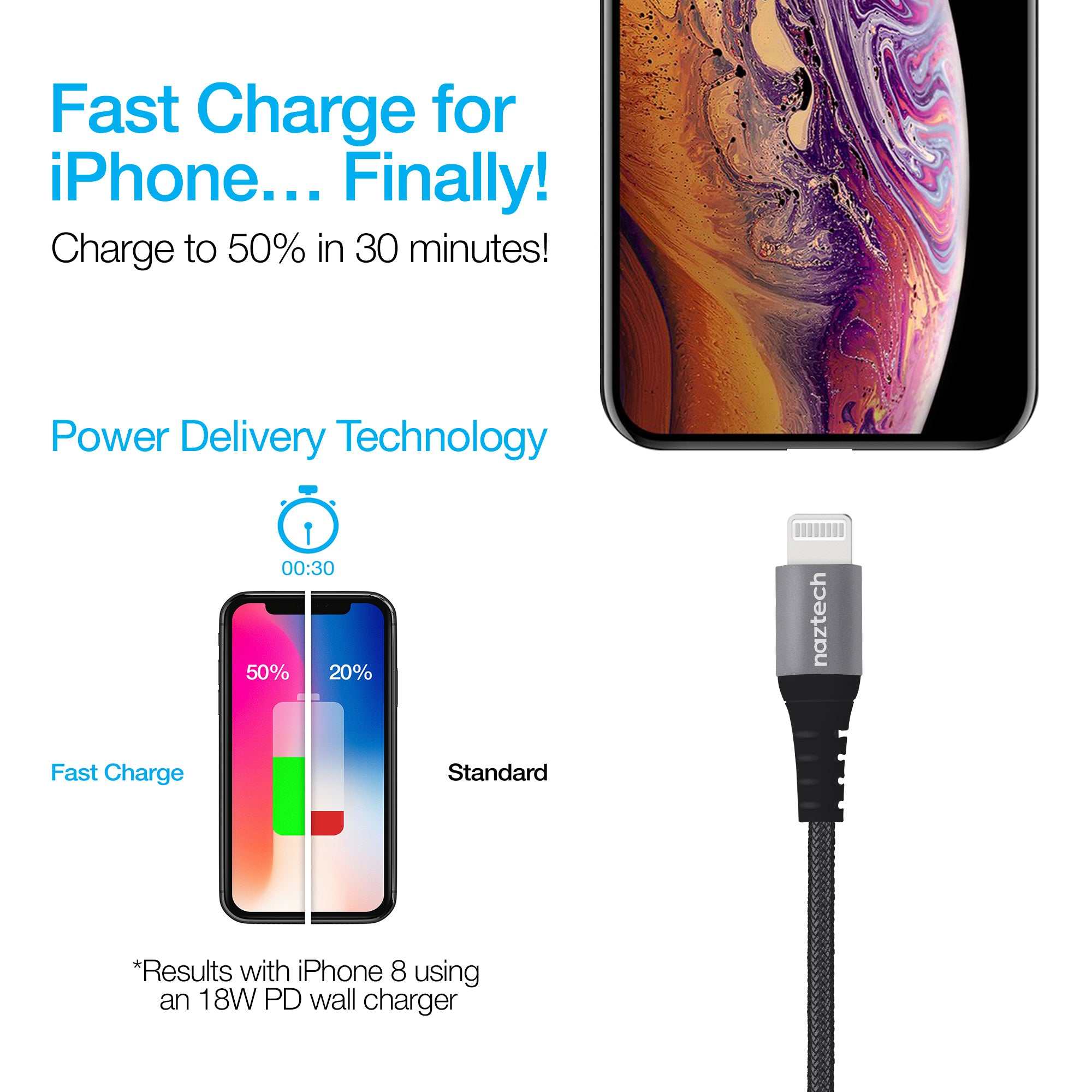 Braided Fast Charge MFi Lightning to USB-C Cable