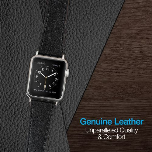 Black Leather Band for Apple Watch
