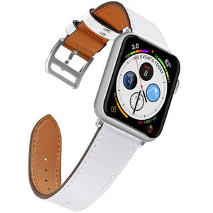 White Leather Band for Apple Watch