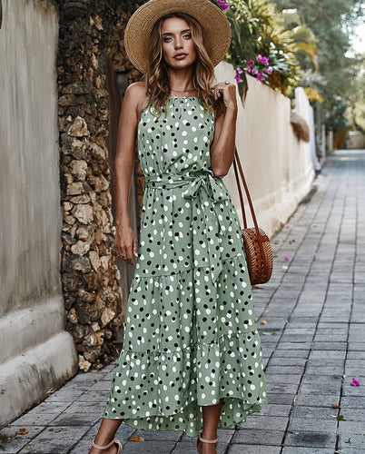 Women Boho Bohemian Polka Dots Dress