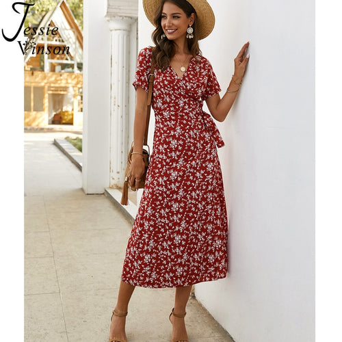 Women Short Sleeve V-neck Floral Print Wrap Dress