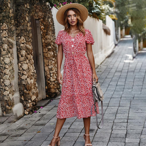 Women Summer Long Dress Floral Ruffle Sleeve Sundress