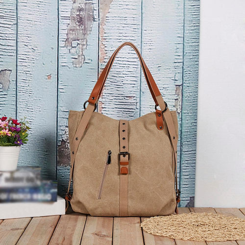 2-In-1 Backpack Canvas Backpack-Shoulder Bag