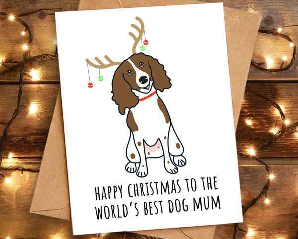 Springer Spaniel World's Best Dog Mum Christmas Card