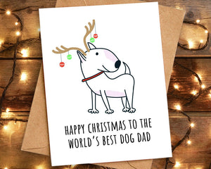 World's Best Dog Dad Christmas Card, English Bull Terrier