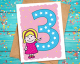 pink birthday card for 3 year old