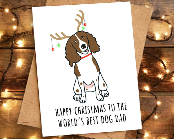 Springer Spaniel World's Best Dog Dad Christmas Card
