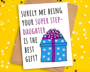 Funny Best Gift Birthday Card to Step Mum Dad from Step Daughter