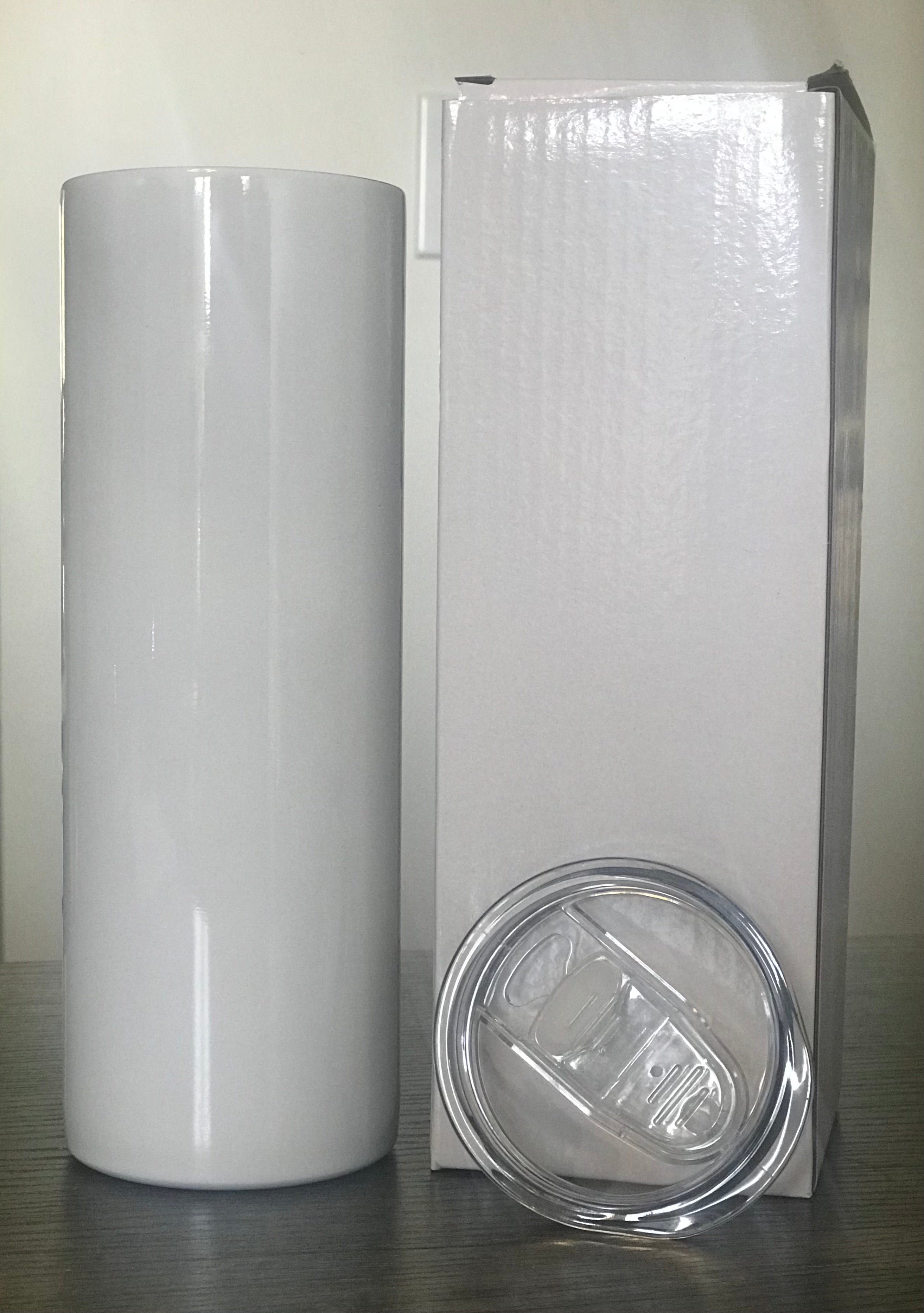 20 oz.  Slim White (Straight) Tumbler with Lid and Straw for Sublimation