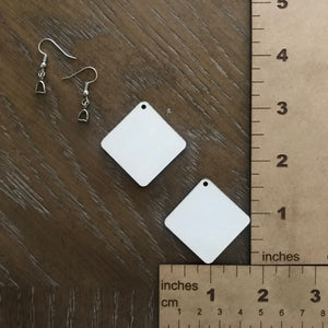 "MDF Square Earrings - 1.75"" Single Sided"