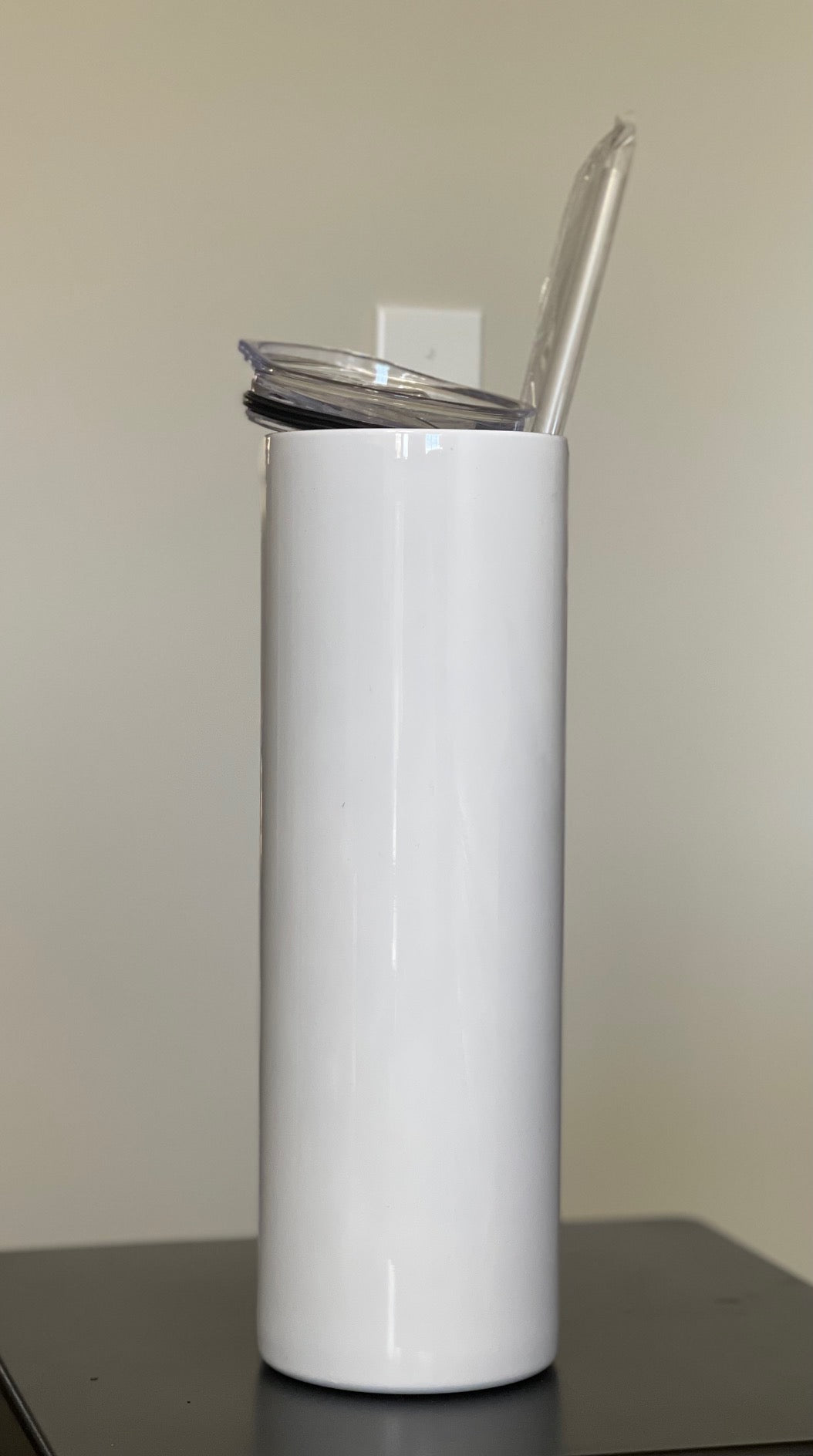 30 oz.  Slim White (Straight) Tumbler with Lid and Straw for Sublimation