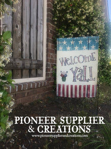 "Patriotic ""Welcome Y'all"" Garden Flag Design Sublimation Template Download"