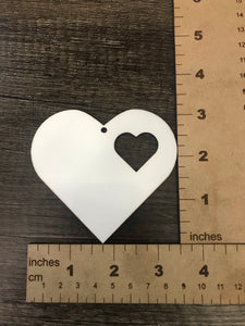 MDF Double Heart Ornament Single Sided