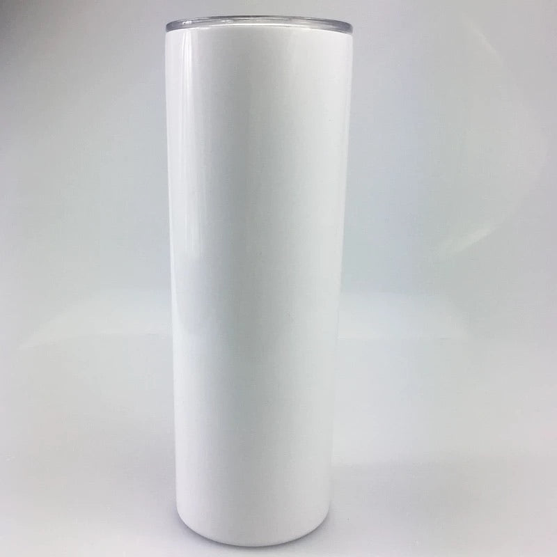 20 oz. Slim White (Tapered) Tumbler with Lid and Straw for Sublimation
