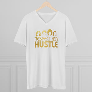 Men's Lightweight V-Neck Tee - Respect her Hustle 2.0