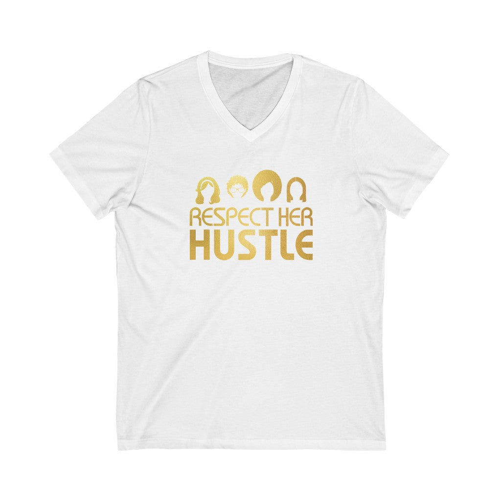 Unisex Jersey Short Sleeve V-Neck Tee - Respect Her Hustle 2.0