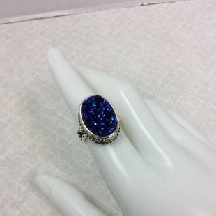 Primary Photo - BRAND:    BALI SILVER STYLE: RING COLOR: STERLING SILVER SIZE: 7 SKU: 133-13341-45147BALI SILVER RING WITH BLUE DRUZY SETTING