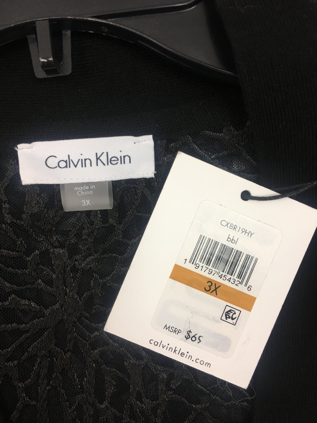 Photo #2 - BRAND: CALVIN KLEIN <BR>STYLE: SWEATER CARDIGAN LIGHTWEIGHT <BR>COLOR: BLACK <BR>SIZE: 3X <BR>OTHER INFO: NEW! <BR>SKU: 133-13316-104994