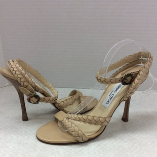 Primary Photo - BRAND: JIMMY CHOO STYLE: SHOES HIGH HEEL COLOR: TAN SIZE: 6.5SKU: 133-13316-112169GET YOUR JIMMY CHOO ON WITH THESE BEAUTIFUL NATURAL COLOR SCRAPPY SANDALS WITH A RED ENAMELED BUCKLE. YOU WILL HAVE LEGS FOR DAYS WITH THESE AMAZING HEELS!