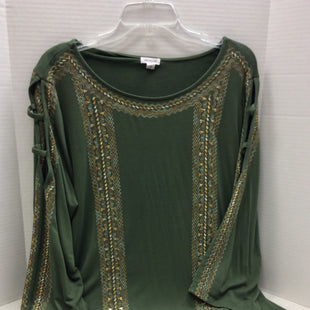 Primary Photo - BRAND: WESTPORT STYLE: TOP LONG SLEEVE COLOR: GREEN SIZE: 3X SKU: 133-13316-110144THIS IS A OLIVE GREEN SOFT KNOT TOP WITH SHADES OF GOLD EMBROIDERED DESIGN AT THE NECK, DOWN THE SLEEVES , AND ON EACH SIDE OF THE FRONT OF THE TOP, IT ALSO HAS LATICE CUT OUTS ON EACH SHOULDER