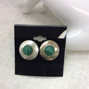 Primary Photo - BRAND: STERLING SILVER & MALACHITESTYLE: EARRINGS COLOR: STERLING SILVER SIZE: OS OTHER INFO: STERLING GREEN STONE - SKU: 133-13374-2397