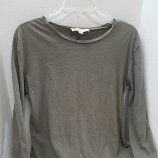 Primary Photo - BRAND: PHILOSOPHY STYLE: TOP LONG SLEEVE BASIC COLOR: OLIVE SIZE: M SKU: 133-13341-42879ADD A LITTLE FLAIR TO YOUR BASIC TEE WARDROBE WITH THIS CUTE OLIVE GREEN LONG SLEEVE TEE WITH RUFFLE BOTTOM.