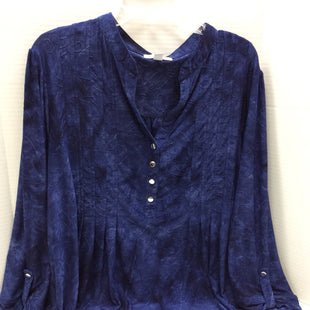 Primary Photo - BRAND: WESTPORT 1962 STYLE: TOP LONG SLEEVE COLOR: BLUE SIZE: 3X SKU: 133-13316-110283DARK TIE DYE WITH EMBROIDERED PATTERN STRETCH FABRIC  WITH SILVER BUTTON FRONT AND BUTTON TAB SLEEVES.