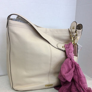 Primary Photo - BRAND: COACH STYLE: HANDBAG DESIGNER COLOR: CREAM SIZE: LARGE SKU: 133-13316-113218NEW WITH TAGS, BEAUTIFUL CREAMY LEATHER BUCKET BAG WITH GOLD TONE HARDWARE, AND THE CRANBERRY TONED COACH SCARF IS INCLUDED!