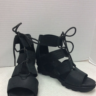Primary Photo - BRAND: SOREL STYLE: SHOES HIGH HEEL COLOR: BLACK SIZE: 9.5 SKU: 133-13379-152LACE UP, LEATHER WEDGE SANDALS GREAT PRE OWNED CONDITION