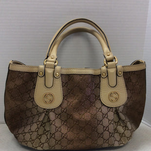 Primary Photo - BRAND: GUCCI STYLE: HANDBAG DESIGNER COLOR: TAN / OMBRÉ METALLIC SIZE: LARGE OTHER INFO: AS IS / OUTSIDE OF BAG IS IN EXCELLENT PRE-OWNED CONDITION, BUT THE INSIDE LINING DOES HAVE CONDITION ISSUES. THERE IS A TEAR IN THE SEAM OF THE LINING AND A SMALL WEAR HOLE AS SHOWN IN PHOTOS. REMEMBER ALL ITEMS PURCHASED ONLINE ARE SOLD AS IS AND ARE A FINAL SALE.SKU: 133-13373-13894R