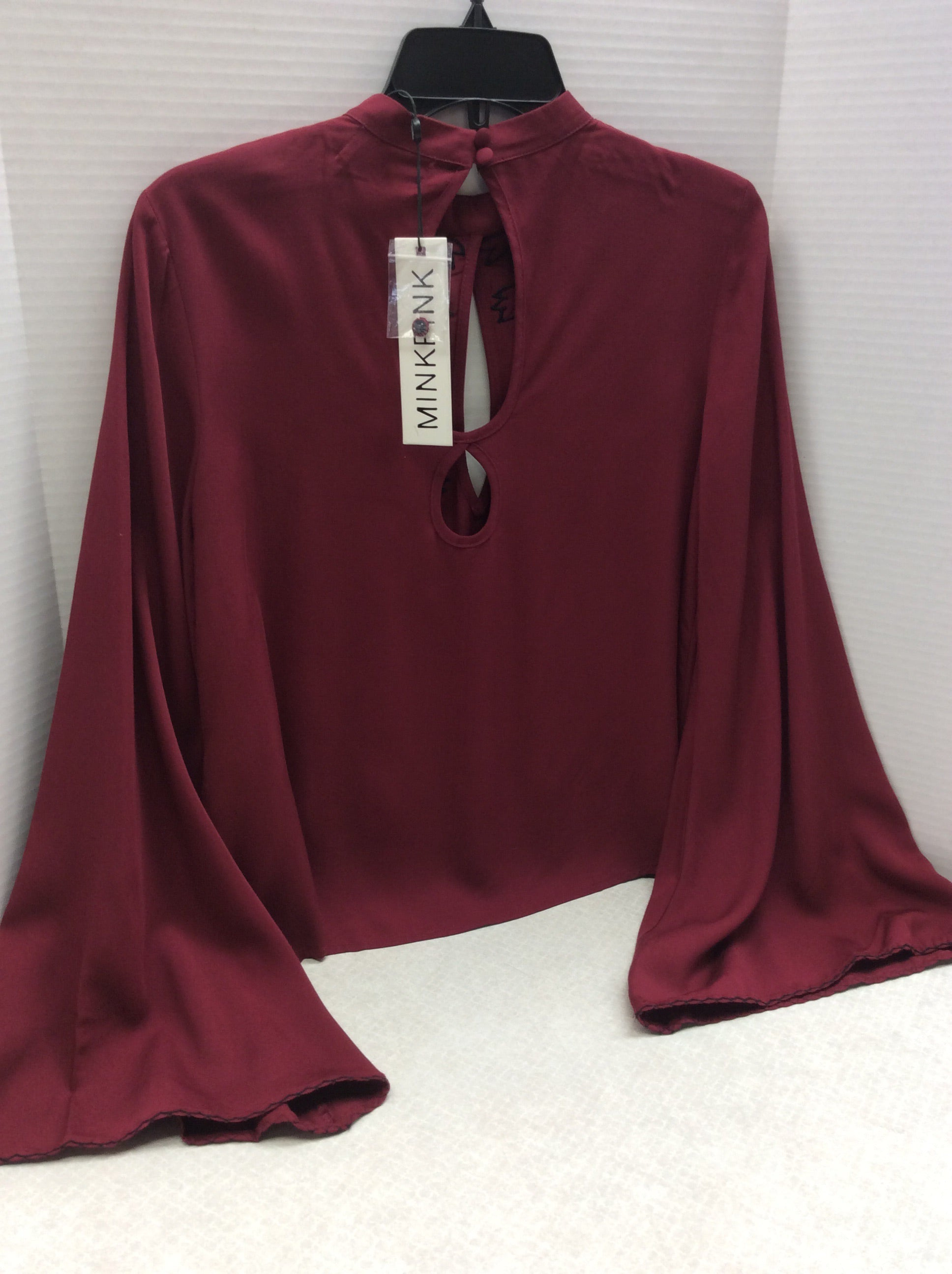 Photo #2 - BRAND: MINKPINK <BR>STYLE: TOP LONG SLEEVE <BR>COLOR: BRICK RED <BR>SIZE: XS <BR>SKU: 133-13316-110232SUCH PRETTY DETAILS ON THIS BELL SLEEVE BLOUSE WITH FLORAL MOTIF EMBROIDERY!