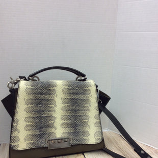 Primary Photo - BRAND:  ZAC POSENSTYLE: HANDBAG DESIGNER COLOR: KHAKI SIZE: MEDIUM OTHER INFO: ZAC POSEN - SKU: 133-13341-43012NEW WITH TAGS FEATURING A FAUX SNAKE PATTERN ON THE FRONT OF THIS OLIVE GREEN AND BLACK LEATHER HANDBAG, WITH REMOVABLE AND ADJUSTABLE SHOULDER STRAP. A STAL AT OUR CLOTHES MENTOR PRICE, WITH THE ORIGINAL PRICE BEING $495!