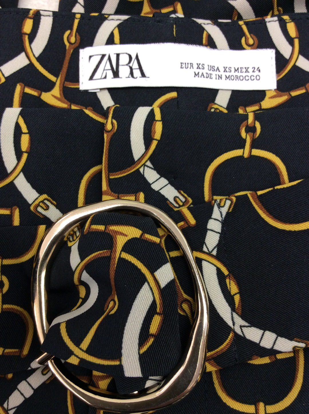 Photo #3 - BRAND: ZARA BASIC <BR>STYLE: PANTS <BR>COLOR: BLACK <BR>SIZE: XS <BR>SKU: 133-13341-41436<BR>WHAT A FUN MODERN TWIST ON A CLASSIC EQUESTRIAN PRINT PANT! SO ON TREND!