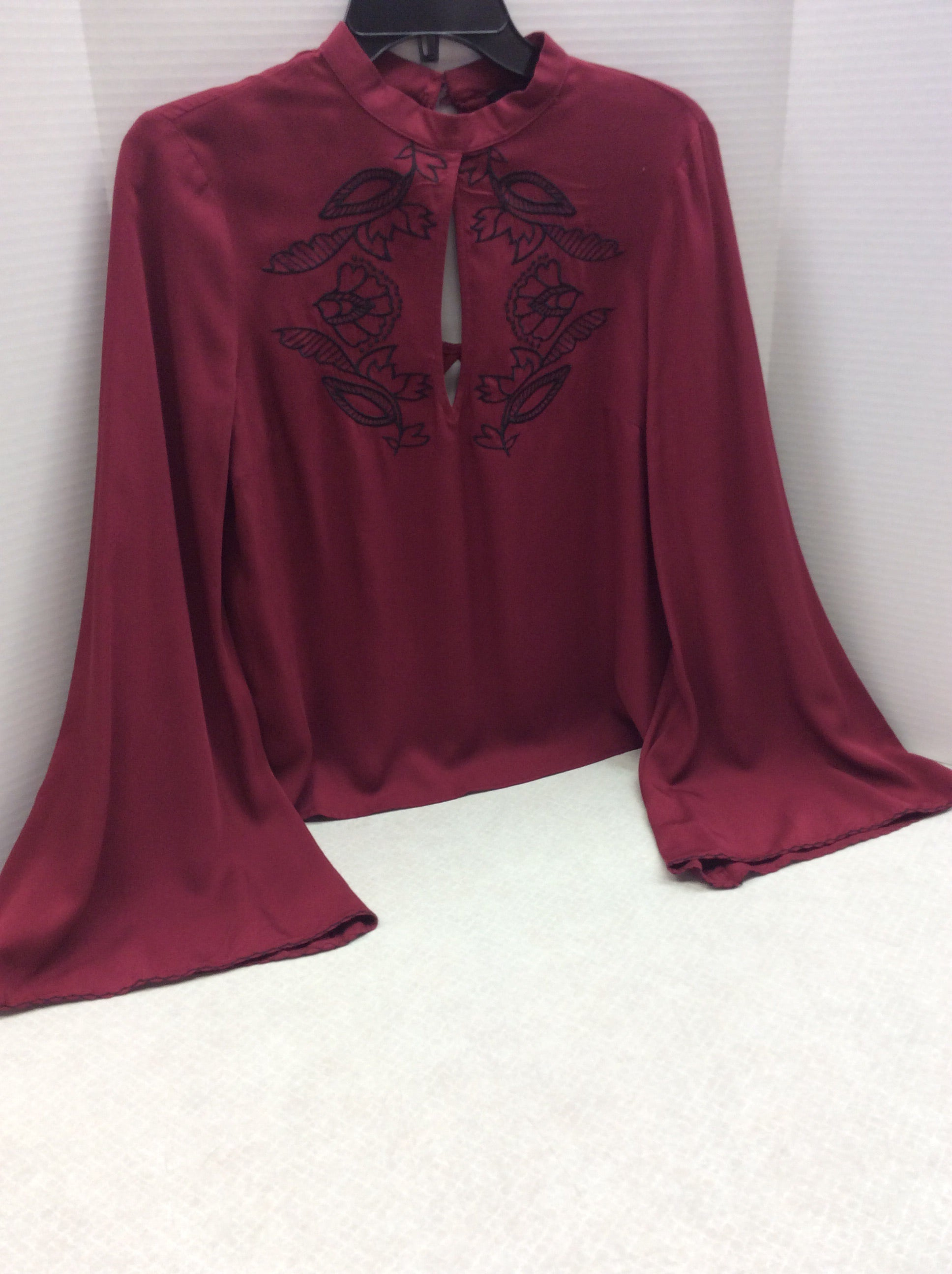 Primary Photo - BRAND: MINKPINK <BR>STYLE: TOP LONG SLEEVE <BR>COLOR: BRICK RED <BR>SIZE: XS <BR>SKU: 133-13316-110232SUCH PRETTY DETAILS ON THIS BELL SLEEVE BLOUSE WITH FLORAL MOTIF EMBROIDERY!