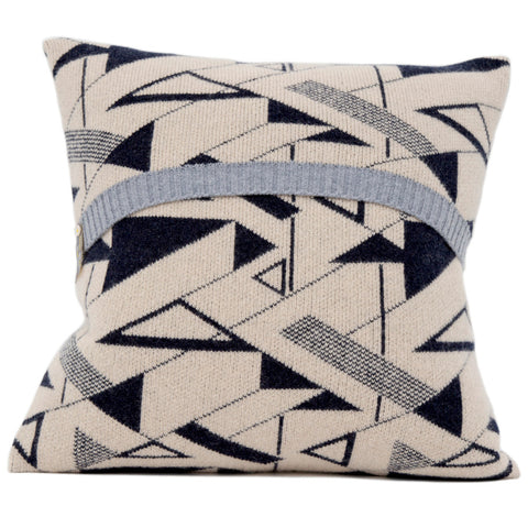 Angles knitted cushion in dark blue and cream