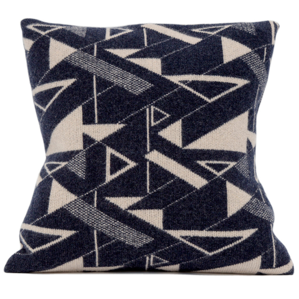 Angles knitted cushion in cream and dark blue