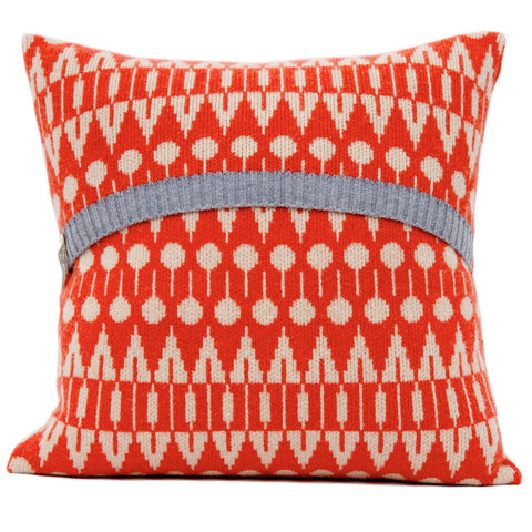 Folk knitted cushion in oatmeal and inferno red