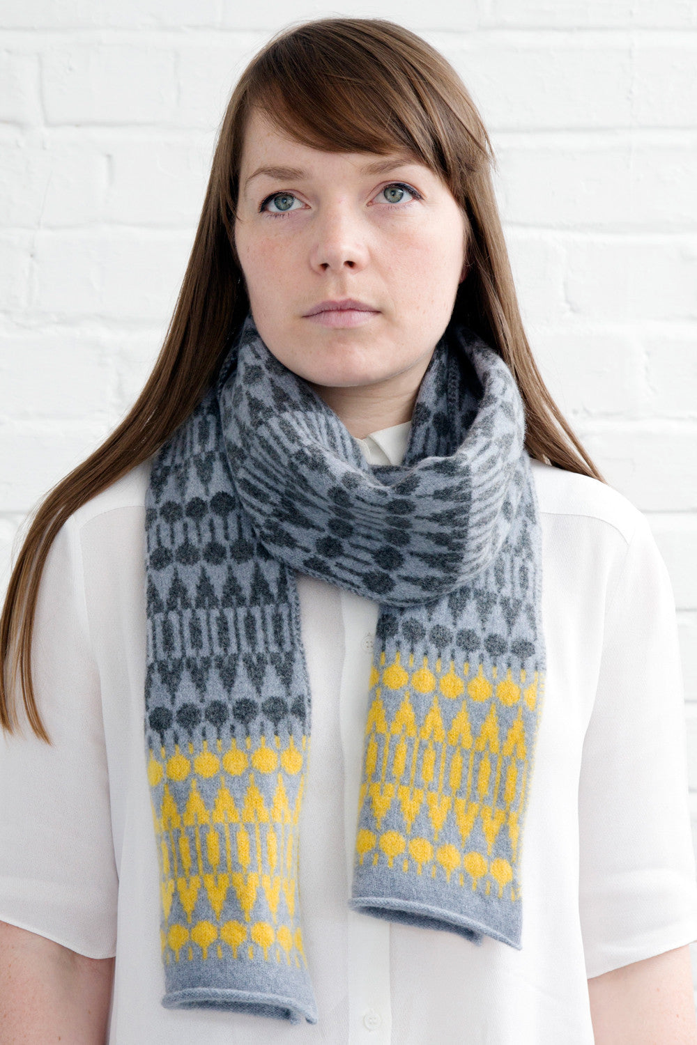 Folk lambswool knitted scarf in grey & yellow