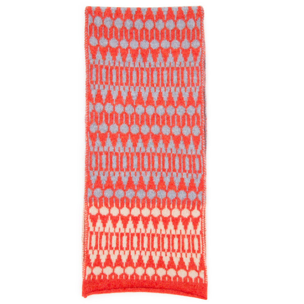 Folk knitted scarf in grey & red