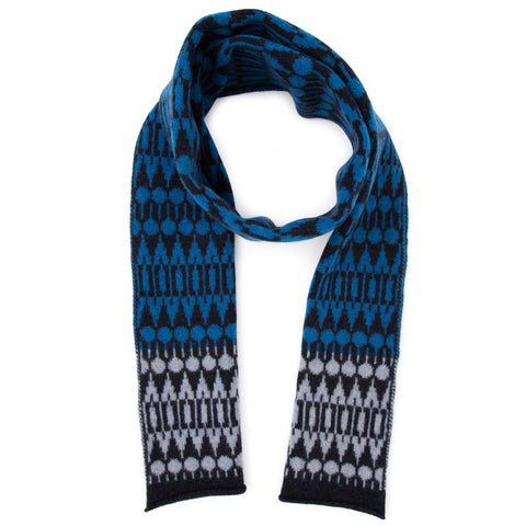 Folk lambswool knitted scarf in blue & indigo