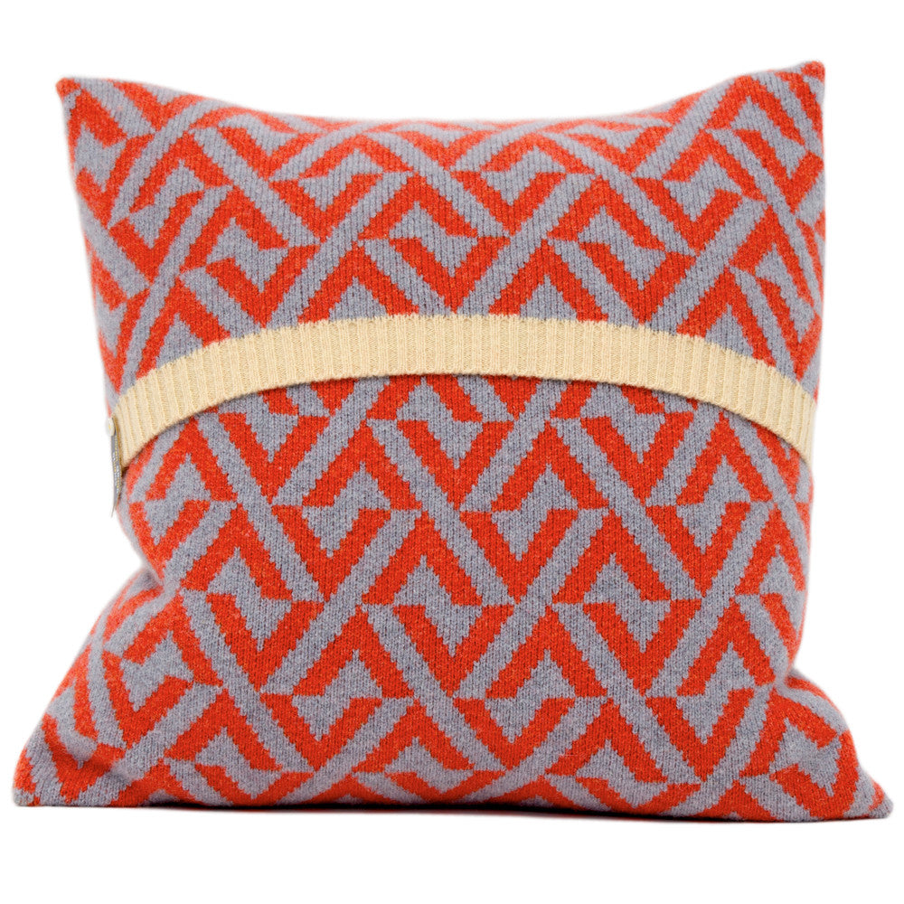 Geo knitted cushion in red and grey