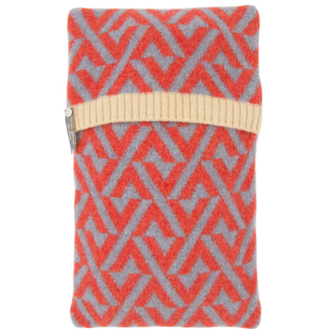 Geo lambswool knitted hot water bottle in red and grey