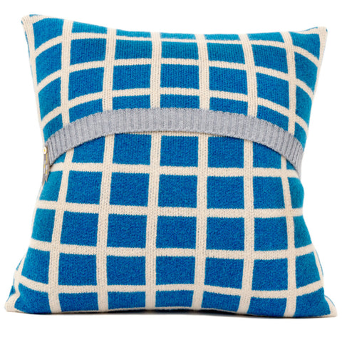 Grid knitted cushion in cream and blue