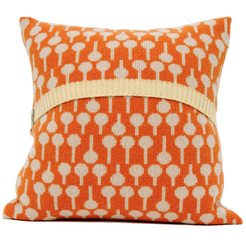 Lolli knitted cushion in cream and orange